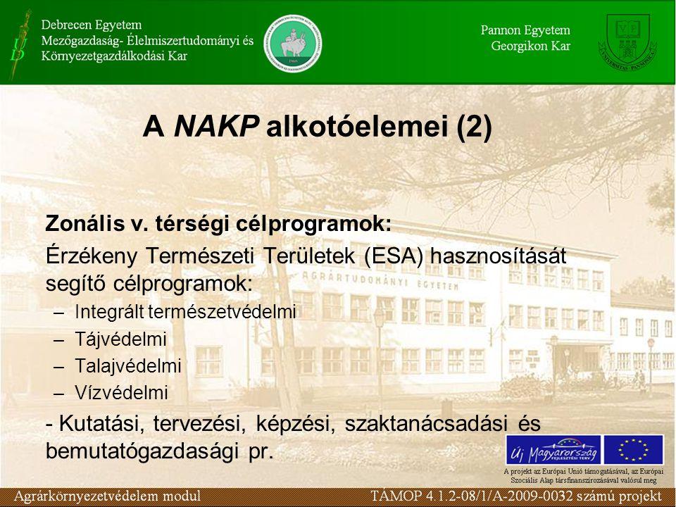 A NAKP alkotóelemei (2) Zonális v. térségi célprogramok: Érzékeny Természeti Területek (ESA) hasznosítását segítő célprogramok: –Integrált természetvé