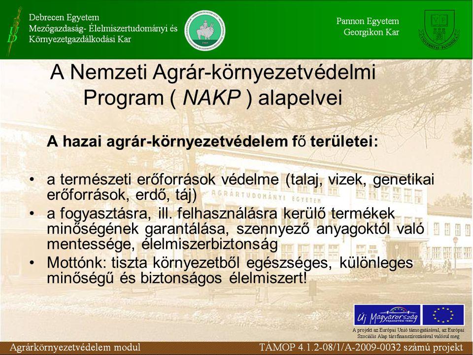 A Nemzeti Agrár-környezetvédelmi Program ( NAKP ) alapelvei A hazai agrár-környezetvédelem fő területei: a természeti erőforrások védelme (talaj, vizek, genetikai erőforrások, erdő, táj) a fogyasztásra, ill.
