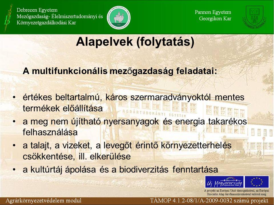 Alapelvek (folytatás) A multifunkcionális mezőgazdaság feladatai: értékes beltartalmú, káros szermaradványoktól mentes termékek előállítása a meg nem