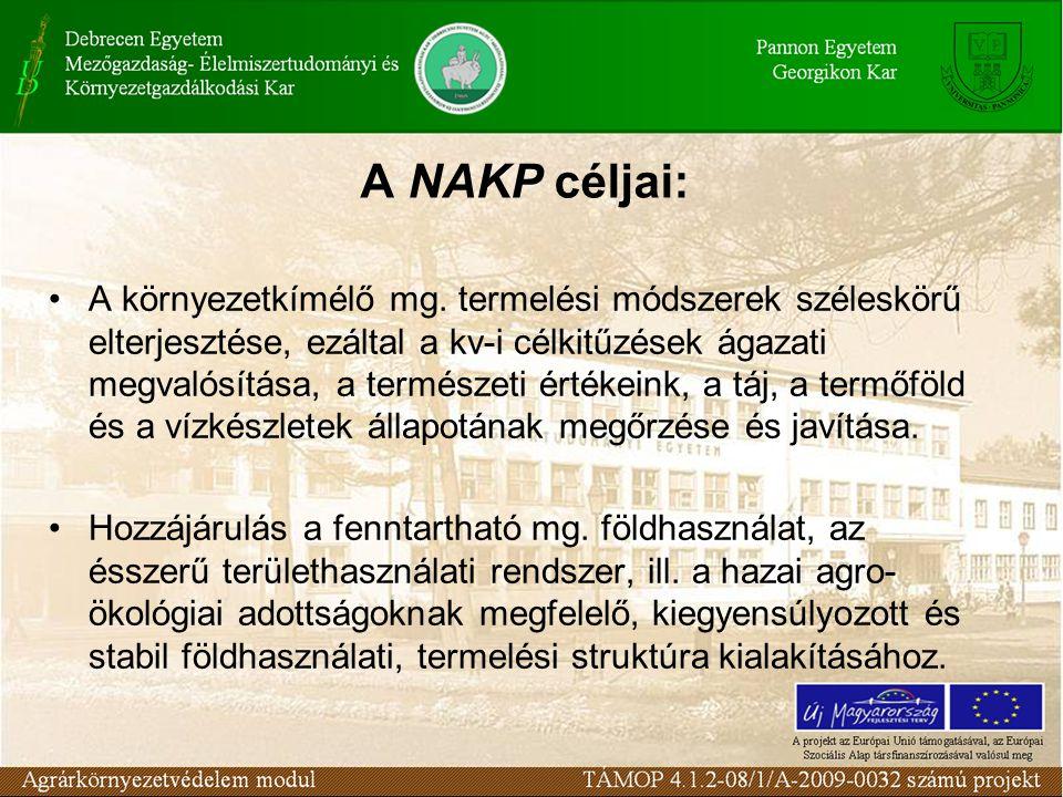 A NAKP céljai: A környezetkímélő mg. termelési módszerek széleskörű elterjesztése, ezáltal a kv-i célkitűzések ágazati megvalósítása, a természeti ért