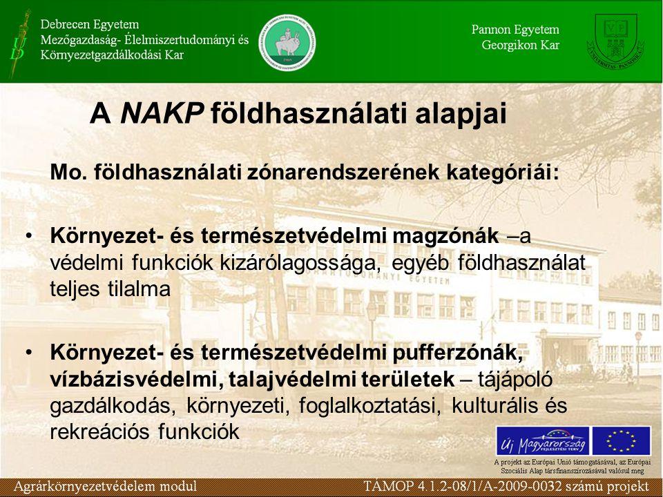 A NAKP földhasználati alapjai Mo. földhasználati zónarendszerének kategóriái: Környezet- és természetvédelmi magzónák –a védelmi funkciók kizárólagoss
