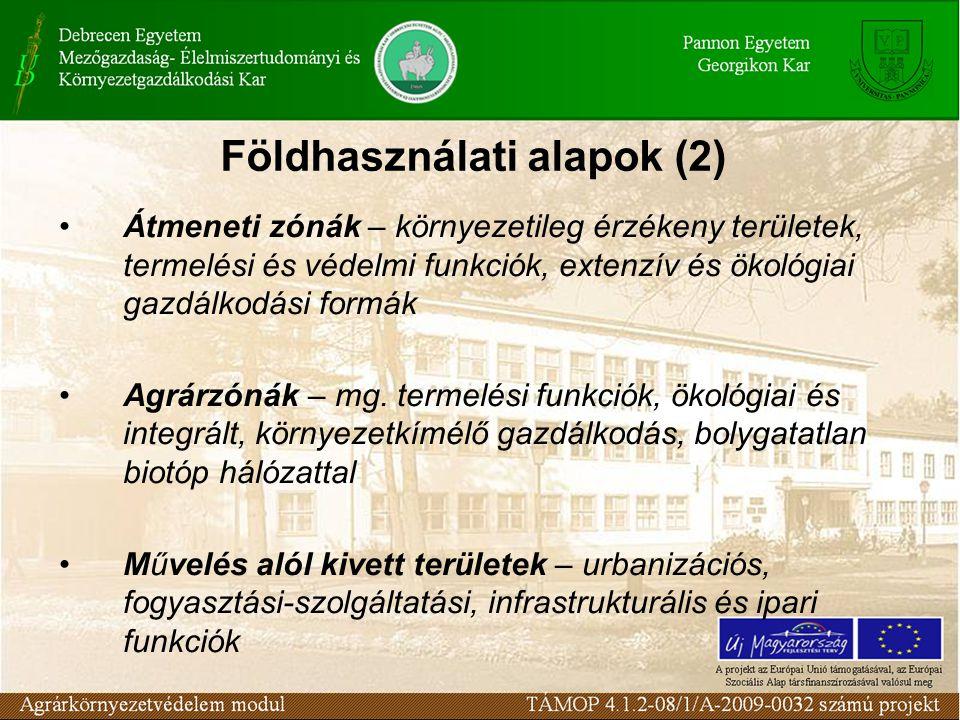 Földhasználati alapok (2) Átmeneti zónák – környezetileg érzékeny területek, termelési és védelmi funkciók, extenzív és ökológiai gazdálkodási formák Agrárzónák – mg.