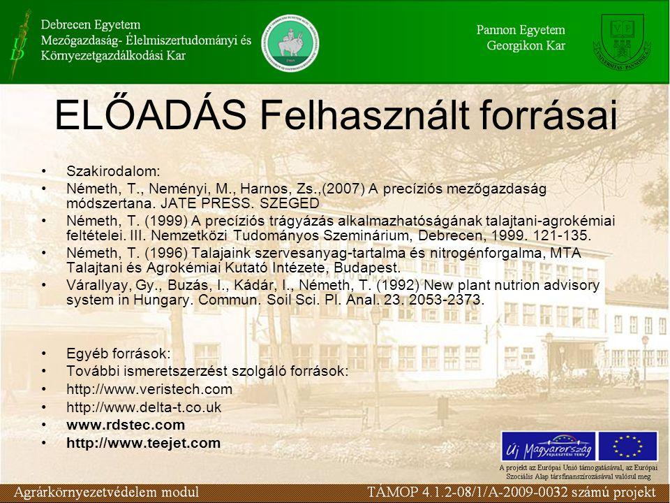 ELŐADÁS Felhasznált forrásai Szakirodalom: Németh, T., Neményi, M., Harnos, Zs.,(2007) A precíziós mezőgazdaság módszertana.