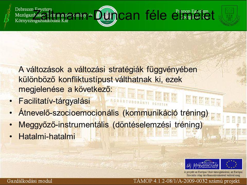 Zaltmann-Duncan féle elmélet A változások a változási stratégiák függvényében különböző konfliktustípust válthatnak ki, ezek megjelenése a következő: Facilitatív-tárgyalási Átnevelő-szocioemocionális (kommunikáció tréning) Meggyőző-instrumentális (döntéselemzési tréning) Hatalmi-hatalmi