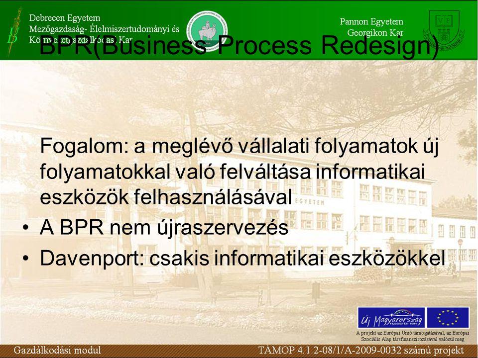 BPR(Business Process Redesign) Fogalom: a meglévő vállalati folyamatok új folyamatokkal való felváltása informatikai eszközök felhasználásával A BPR nem újraszervezés Davenport: csakis informatikai eszközökkel