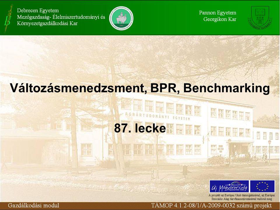 Változásmenedzsment, BPR, Benchmarking 87. lecke