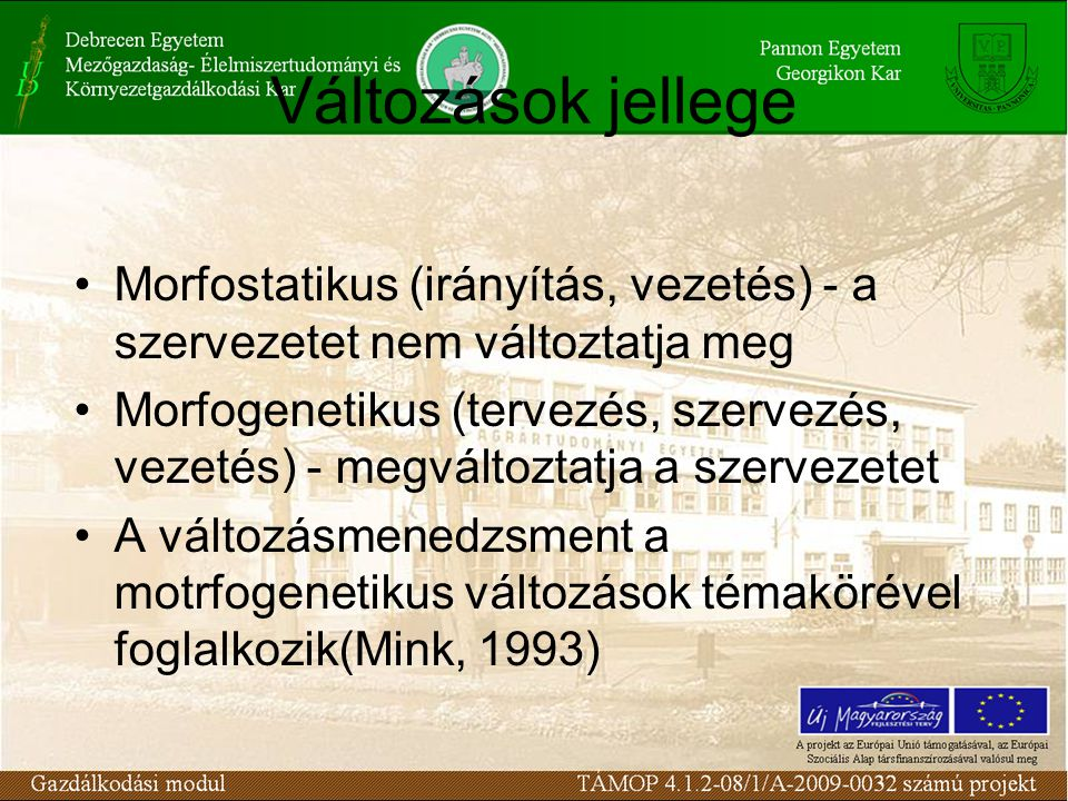 Változások jellege Morfostatikus (irányítás, vezetés) - a szervezetet nem változtatja meg Morfogenetikus (tervezés, szervezés, vezetés) - megváltoztatja a szervezetet A változásmenedzsment a motrfogenetikus változások témakörével foglalkozik(Mink, 1993)