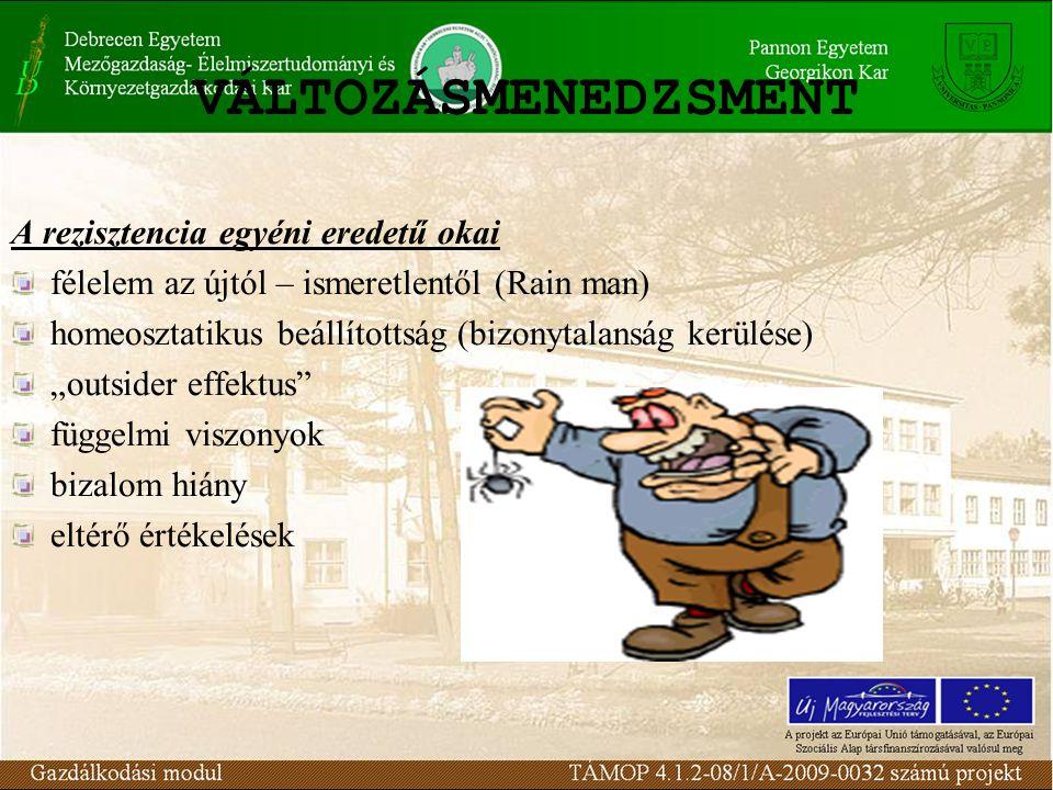 VÁLTOZÁSMENEDZSMENT A rezisztencia szervezeti eredetű okai a szervezeti struktúra szervezeti konzervatízmus a hatalom, pozíció fenyegetettsége erőforrás hatások szervezeti kultúra a szervezeten belüli hierarchia szervezeten belüli megállapodások, egyezségek