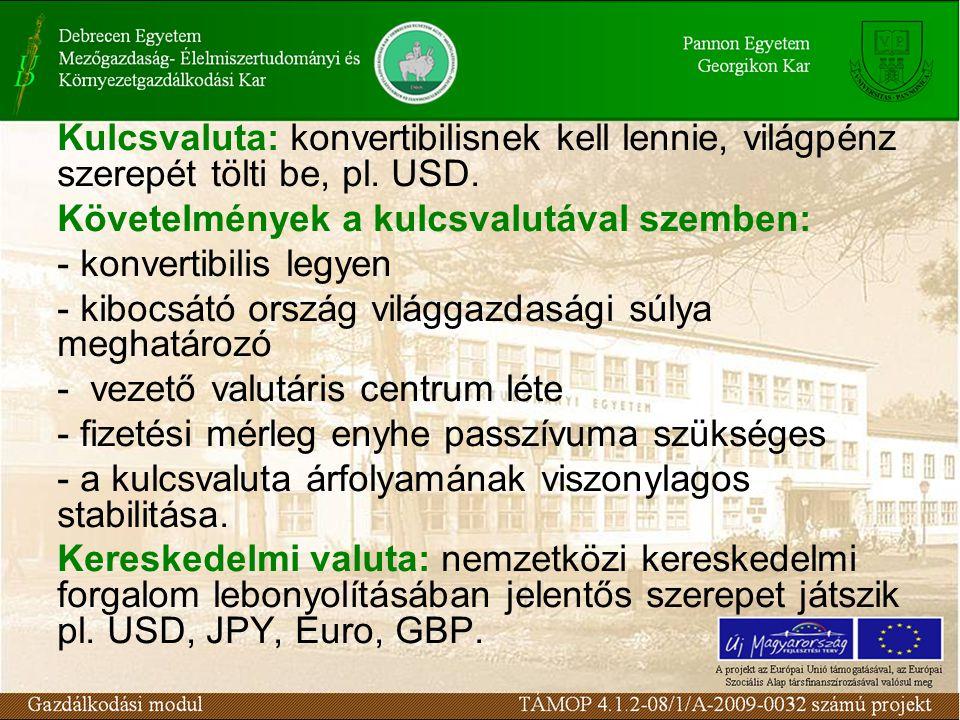Kulcsvaluta: konvertibilisnek kell lennie, világpénz szerepét tölti be, pl.