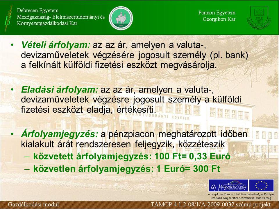 Árfolyamrés: a vételi és az eladási árfolyam különbsége (marge) Keresztárfolyam: meghatározásához kiválasztanak egy közvetítő pénznemet (pl.