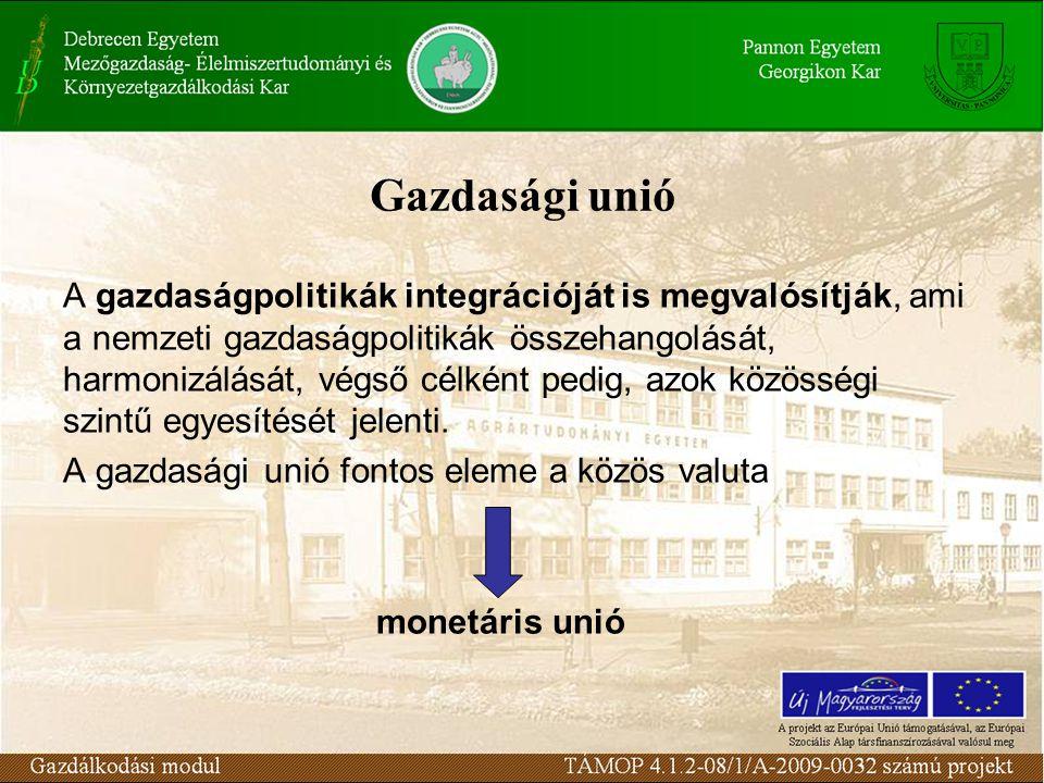 Gazdasági unió A gazdaságpolitikák integrációját is megvalósítják, ami a nemzeti gazdaságpolitikák összehangolását, harmonizálását, végső célként pedig, azok közösségi szintű egyesítését jelenti.