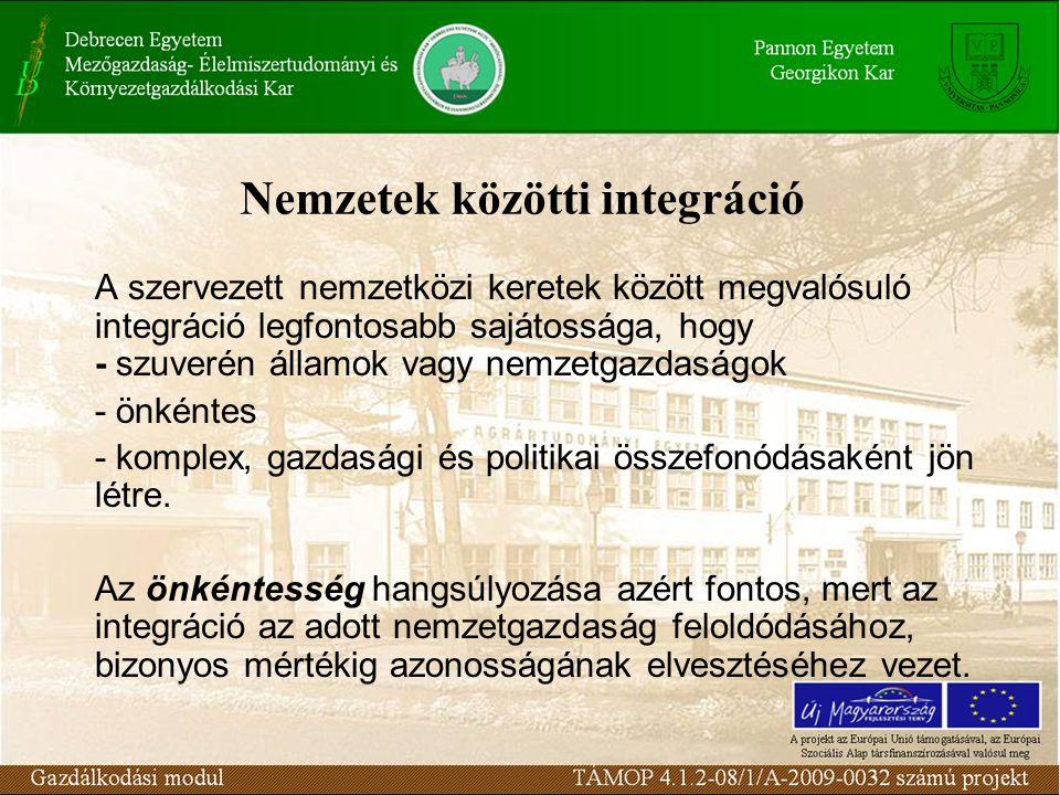 Nemzetek közötti integráció A szervezett nemzetközi keretek között megvalósuló integráció legfontosabb sajátossága, hogy - szuverén államok vagy nemzetgazdaságok - önkéntes - komplex, gazdasági és politikai összefonódásaként jön létre.