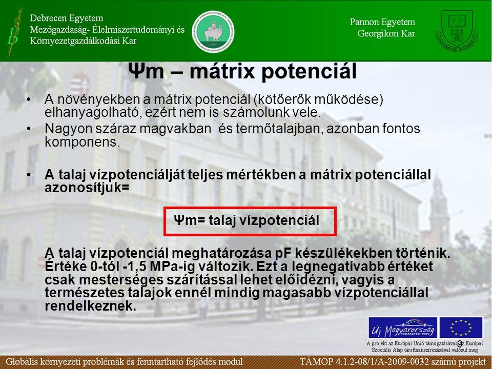 9 Ψm – mátrix potenciál A növényekben a mátrix potenciál (kötőerők működése) elhanyagolható, ezért nem is számolunk vele.