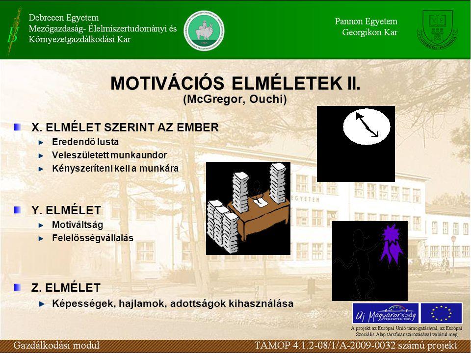 MOTIVÁCIÓS ELMÉLETEK II. (McGregor, Ouchi) X. ELMÉLET SZERINT AZ EMBER Eredendő lusta Veleszületett munkaundor Kényszeríteni kell a munkára Y. ELMÉLET