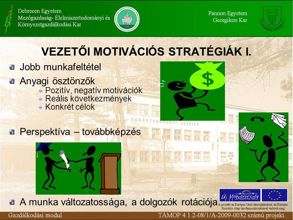 VEZETŐI MOTIVÁCIÓS STRATÉGIÁK I. Jobb munkafeltétel Anyagi ösztönzők Pozitív, negatív motivációk Reális következmények Konkrét célok Perspektíva – tov
