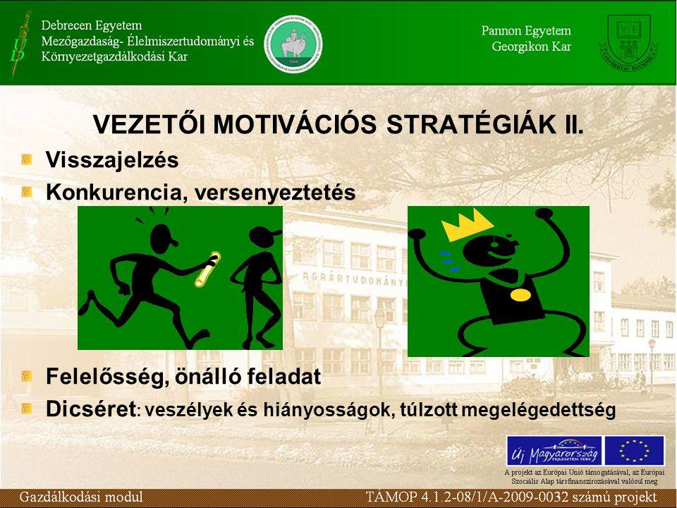 VEZETŐI MOTIVÁCIÓS STRATÉGIÁK II. Visszajelzés Konkurencia, versenyeztetés Felelősség, önálló feladat Dicséret : veszélyek és hiányosságok, túlzott me