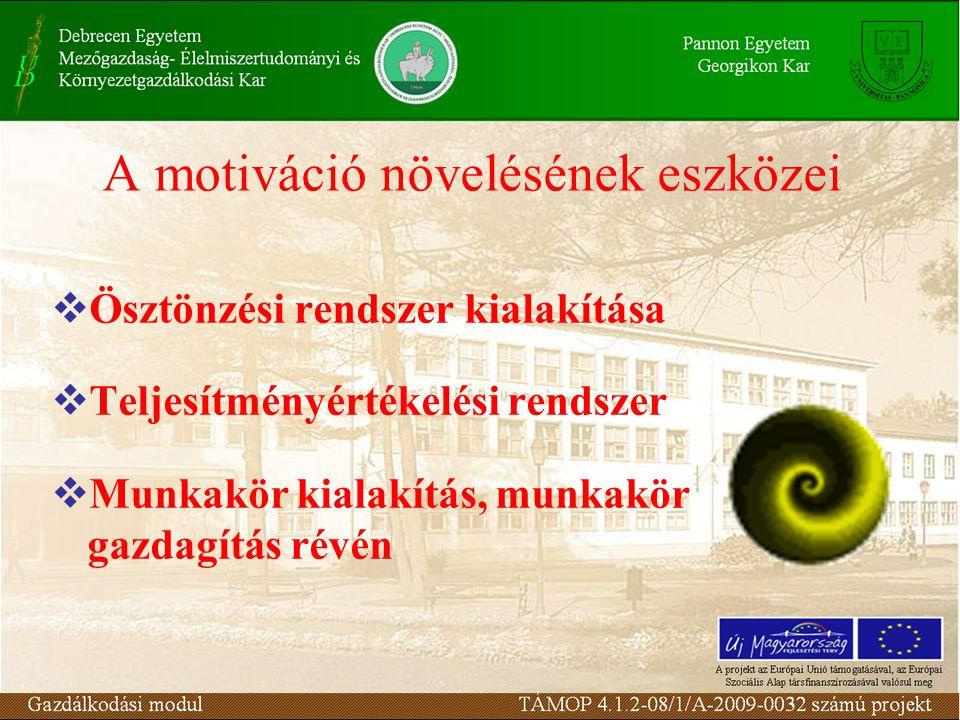 A motiváció növelésének eszközei  Ösztönzési rendszer kialakítása  Teljesítményértékelési rendszer  Munkakör kialakítás, munkakör gazdagítás révén