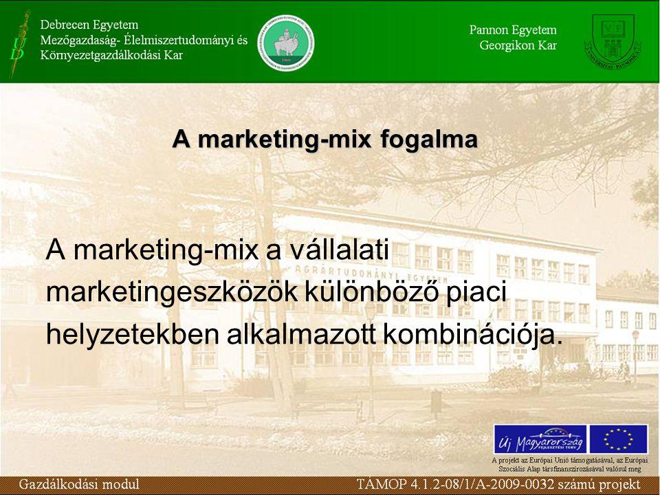 A marketing-mix a vállalati marketingeszközök különböző piaci helyzetekben alkalmazott kombinációja.