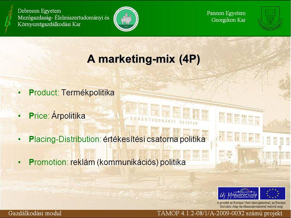 Product: Termékpolitika Price: Árpolitika Placing-Distribution: értékesítési csatorna politika Promotion: reklám (kommunikációs) politika A marketing-mix (4P)
