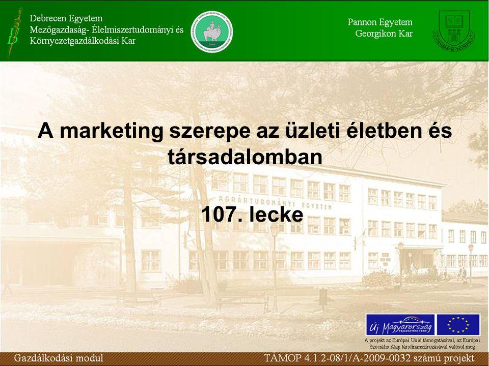 A marketing szerepe az üzleti életben és társadalomban 107. lecke
