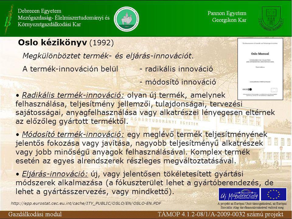 Oslo kézikönyv (1992) Megkülönböztet termék- és eljárás-innovációt.