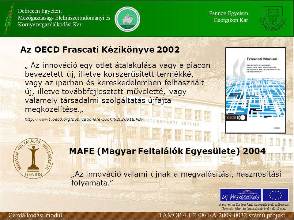 """Az OECD Frascati Kézikönyve 2002 http://www1.oecd.org/publications/e-book/9202081E.PDF """" Az innováció egy ötlet átalakulása vagy a piacon bevezetett új, illetve korszerűsített termékké, vagy az iparban és kereskedelemben felhasznált új, illetve továbbfejlesztett műveletté, vagy valamely társadalmi szolgáltatás újfajta megközelítése."""" MAFE (Magyar Feltalálók Egyesülete) 2004 """"Az innováció valami újnak a megvalósítási, hasznosítási folyamata."""