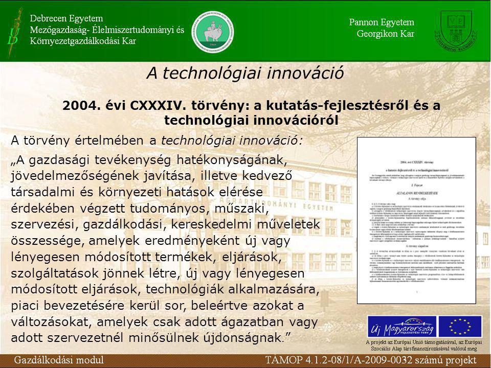 A technológiai innováció 2004. évi CXXXIV.