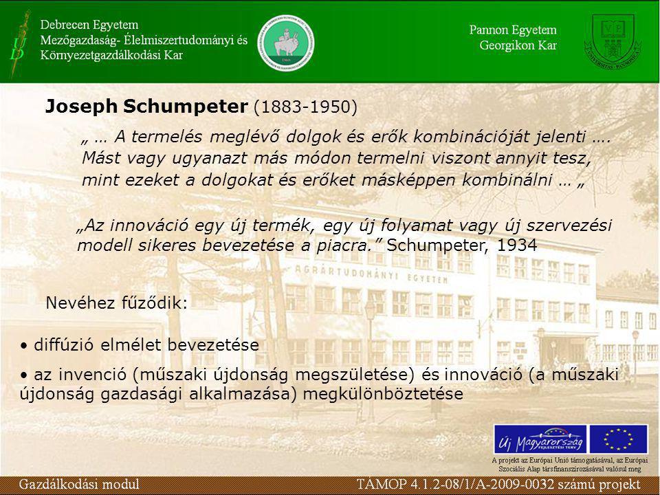 """Joseph Schumpeter (1883-1950) """" … A termelés meglévő dolgok és erők kombinációját jelenti …."""