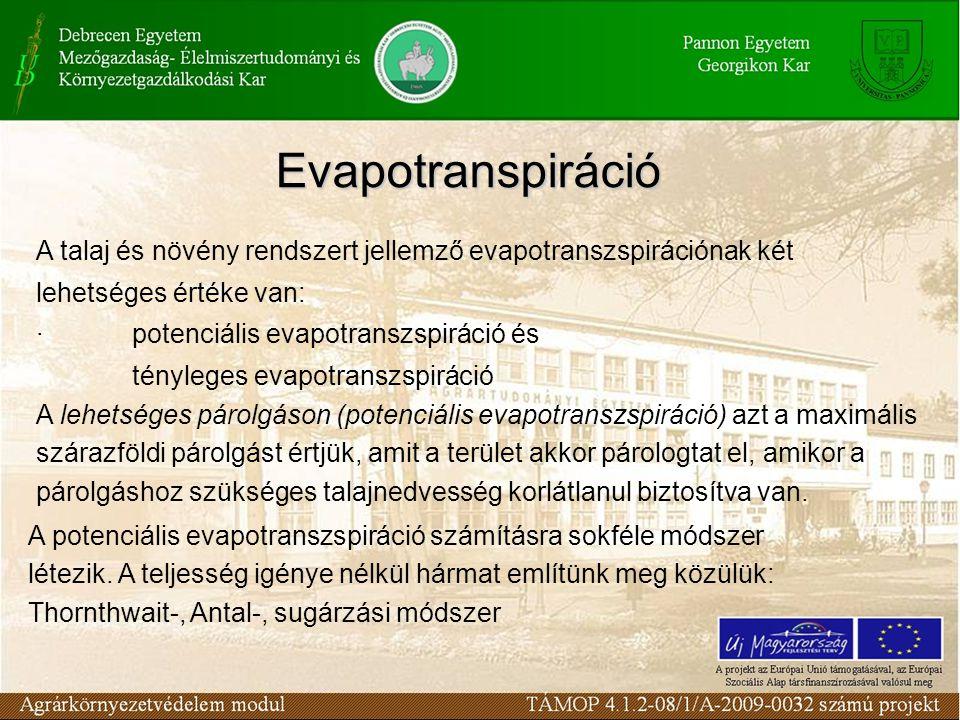 Evapotranspiráció A talaj és növény rendszert jellemző evapotranszspirációnak két lehetséges értéke van: · potenciális evapotranszspiráció és ténylege