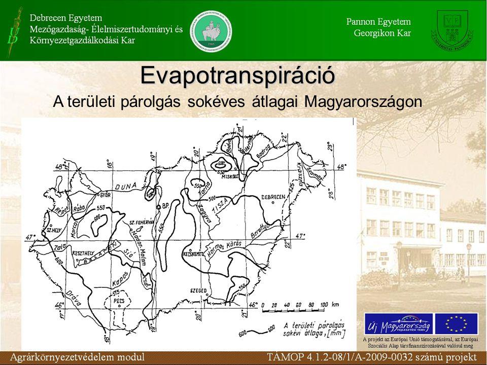 A területi párolgás sokéves átlagai Magyarországon Evapotranspiráció