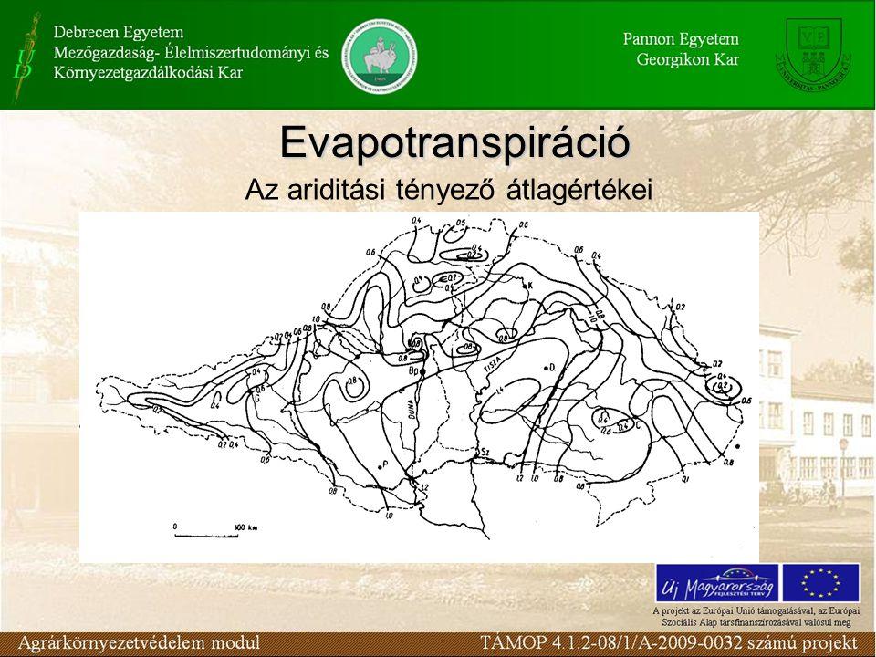Az ariditási tényező átlagértékei Evapotranspiráció