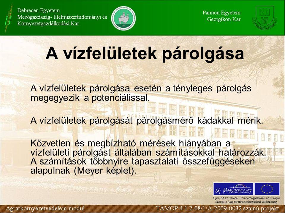 A területi párolgás számításai: Súlyliziméter használatával Evapotranspiráció