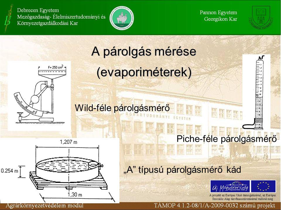 """A párolgás mérése (evaporiméterek) Wild-féle párolgásmérő Piche-féle párolgásmérő """"A"""" típusú párolgásmérő kád"""