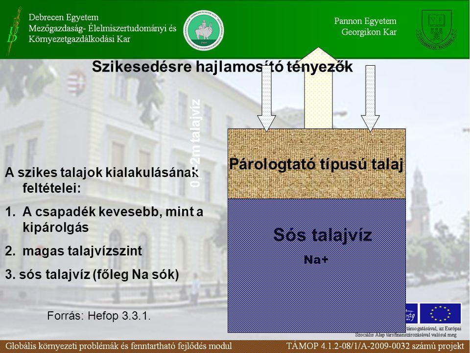 A szikes talajok kialakulásának feltételei: 1.A csapadék kevesebb, mint a kipárolgás 2.magas talajvízszint 3.