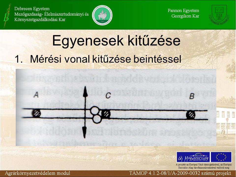 Egyenesek kitűzése 1.Mérési vonal kitűzése beintéssel