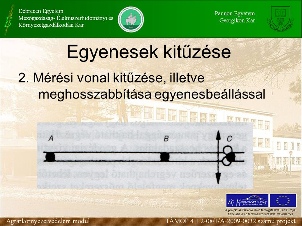 Egyenesek kitűzése 2. Mérési vonal kitűzése, illetve meghosszabbítása egyenesbeállással