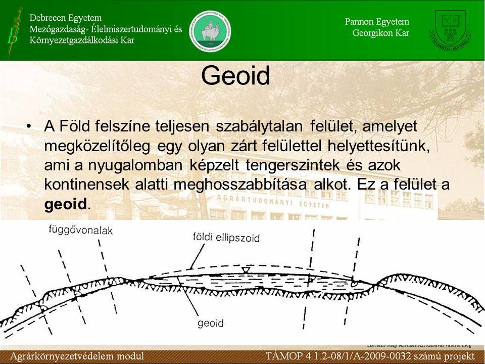 Geoid A Föld felszíne teljesen szabálytalan felület, amelyet megközelítőleg egy olyan zárt felülettel helyettesítünk, ami a nyugalomban képzelt tengerszintek és azok kontinensek alatti meghosszabbítása alkot.