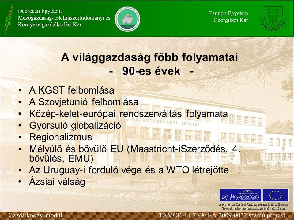 A világgazdaság főbb folyamatai - 90-es évek - A KGST felbomlása A Szovjetunió felbomlása Közép-kelet-európai rendszerváltás folyamata Gyorsuló globalizáció Regionalizmus Mélyülő és bővülő EU (Maastricht-iSzerződés, 4.