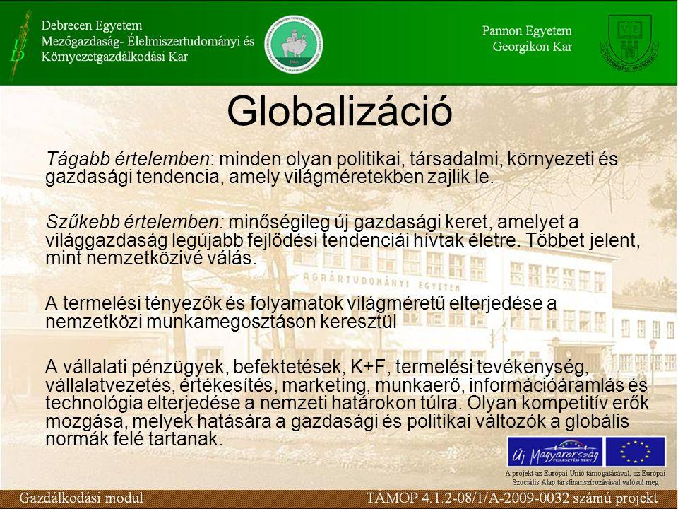Globalizáció Tágabb értelemben: minden olyan politikai, társadalmi, környezeti és gazdasági tendencia, amely világméretekben zajlik le. Szűkebb értele