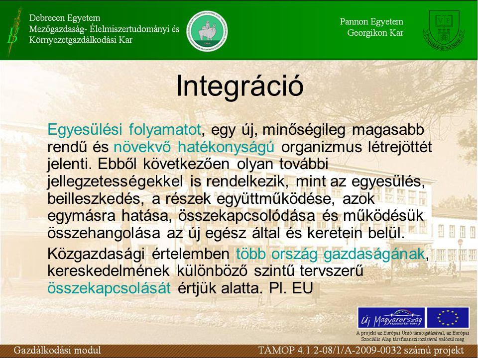 Integráció Egyesülési folyamatot, egy új, minőségileg magasabb rendű és növekvő hatékonyságú organizmus létrejöttét jelenti. Ebből következően olyan t