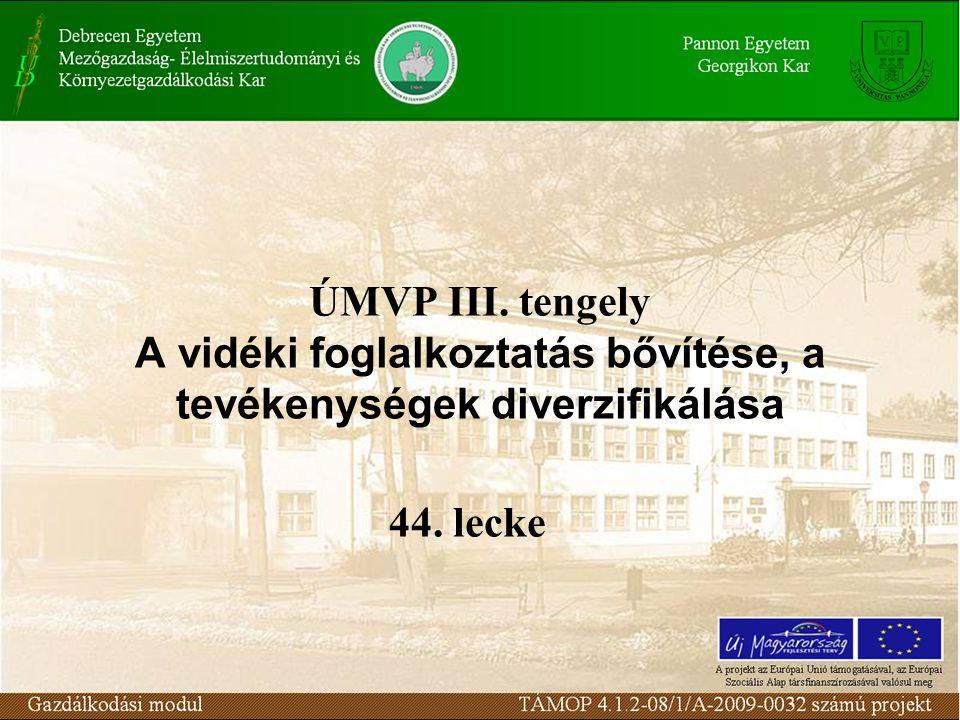 ÚMVP III. tengely A vidéki foglalkoztatás bővítése, a tevékenységek diverzifikálása 44. lecke