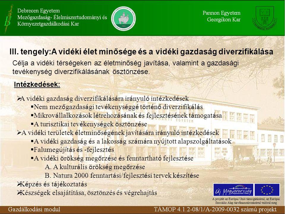III. tengely:A vidéki élet minősége és a vidéki gazdaság diverzifikálása  A vid é ki gazdas á g diverzifik á l á s á ra ir á nyul ó int é zked é sek