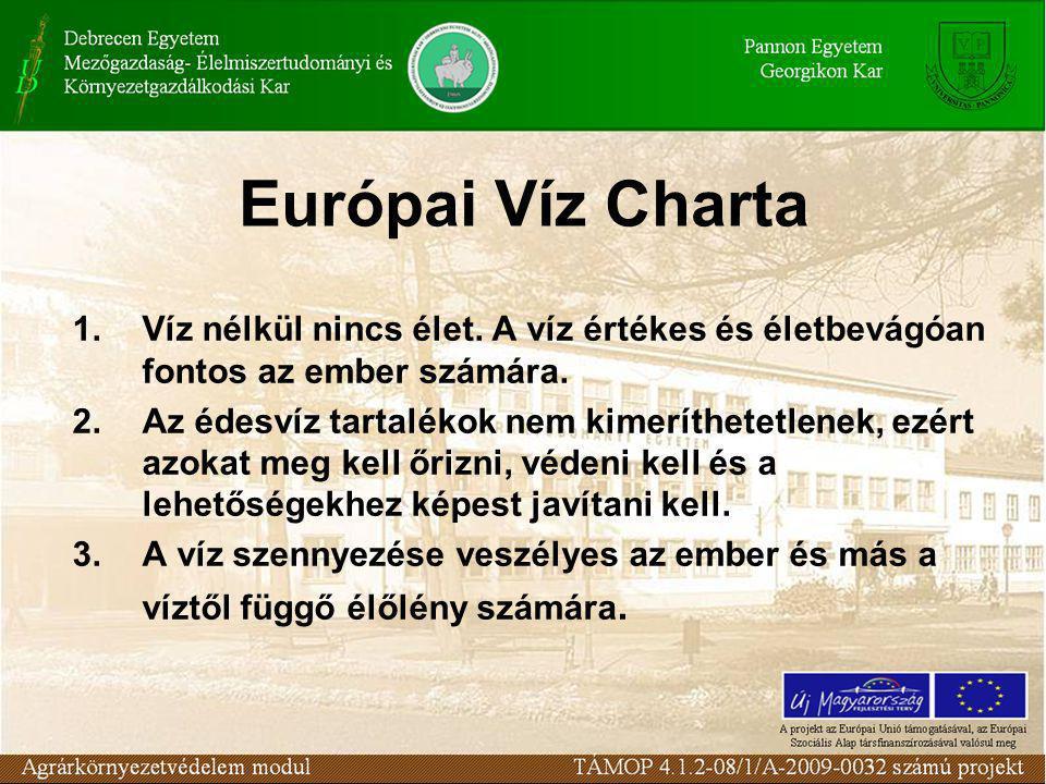 Európai Víz Charta 1.Víz nélkül nincs élet. A víz értékes és életbevágóan fontos az ember számára.