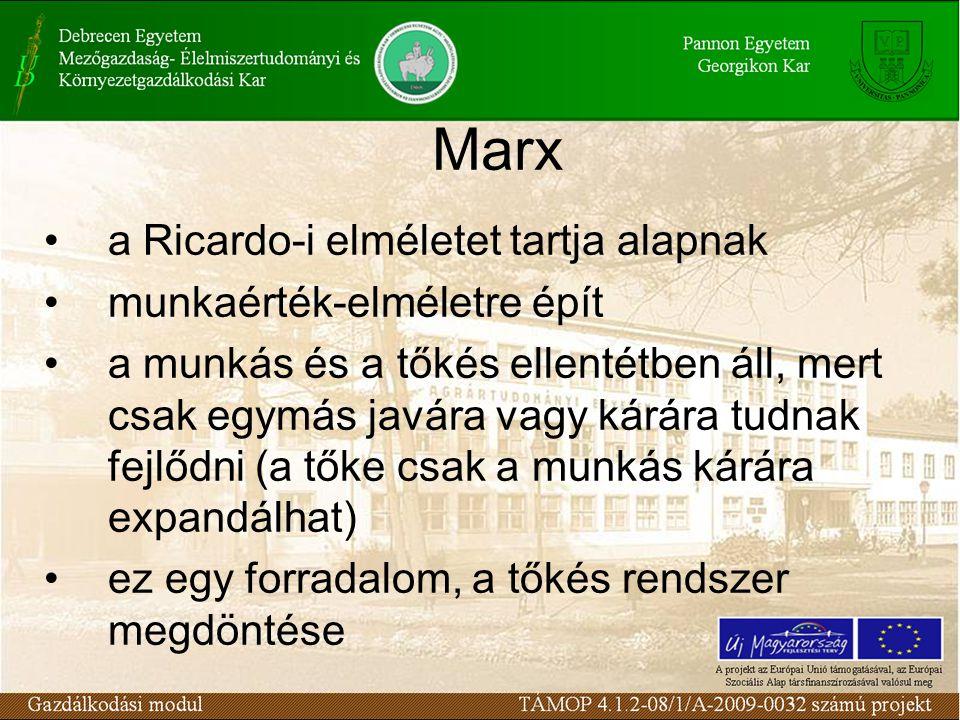 Marx a Ricardo-i elméletet tartja alapnak munkaérték-elméletre épít a munkás és a tőkés ellentétben áll, mert csak egymás javára vagy kárára tudnak fejlődni (a tőke csak a munkás kárára expandálhat) ez egy forradalom, a tőkés rendszer megdöntése