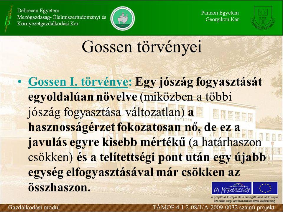 Gossen törvényei Gossen I. törvénye: Egy jószág fogyasztását egyoldalúan növelve (miközben a többi jószág fogyasztása változatlan) a hasznosságérzet f