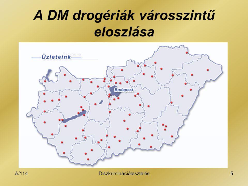 A/114Diszkriminációtesztelés5 A DM drogériák városszintű eloszlása
