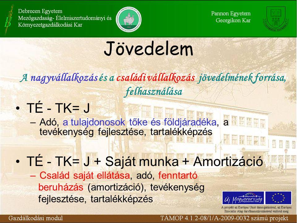 Jövedelem TÉ - TK= J –Adó, a tulajdonosok tőke és földjáradéka, a tevékenység fejlesztése, tartalékképzés TÉ - TK= J + Saját munka + Amortizáció –Csal