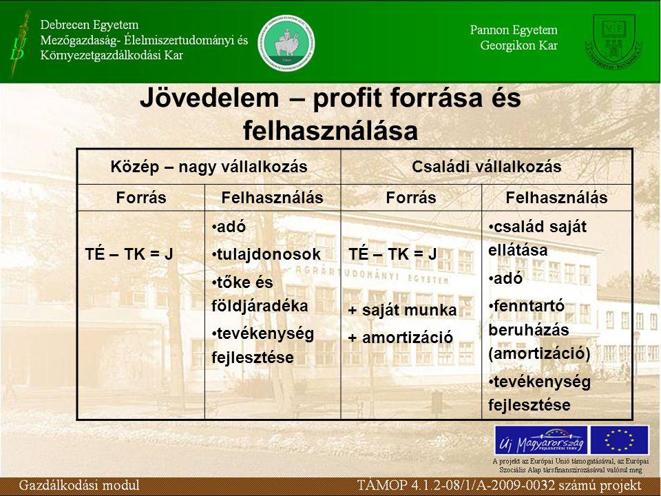 Jövedelem – profit forrása és felhasználása Közép – nagy vállalkozásCsaládi vállalkozás ForrásFelhasználásForrásFelhasználás TÉ – TK = J adó tulajdono