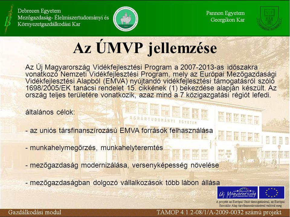 Az ÚMVP jellemzése Az Új Magyarország Vidékfejlesztési Program a 2007-2013-as időszakra vonatkozó Nemzeti Vidékfejlesztési Program, mely az Európai Mezőgazdasági Vidékfejlesztési Alapból (EMVA) nyújtandó vidékfejlesztési támogatásról szóló 1698/2005/EK tanácsi rendelet 15.