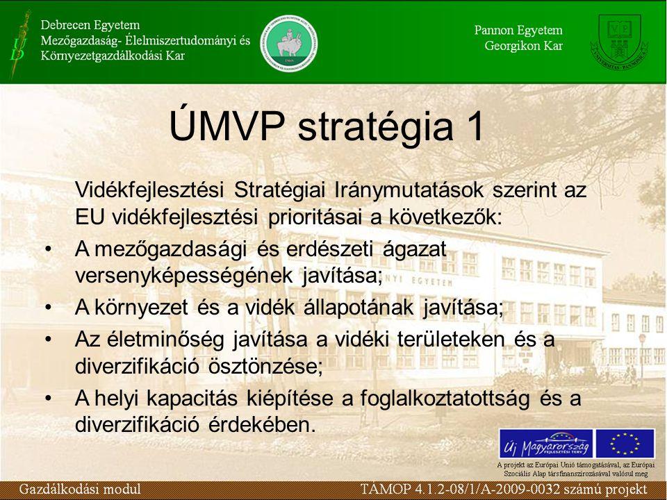 ÚMVP stratégia 2 a Stratégia az ország előrelépését és a nemzetközi versenyelőny megerősítését szolgálja; alapvető célja egy olyan szektor kialakítása, mely hozzájárul a hazai mezőgazdaság, illetve a vidéki lakosság életszínvonalának fejlesztéséhez, a jelenlegi foglalkoztatottsági szint megőrzésével és 30%-kal több hozzáadott érték megteremtésével.
